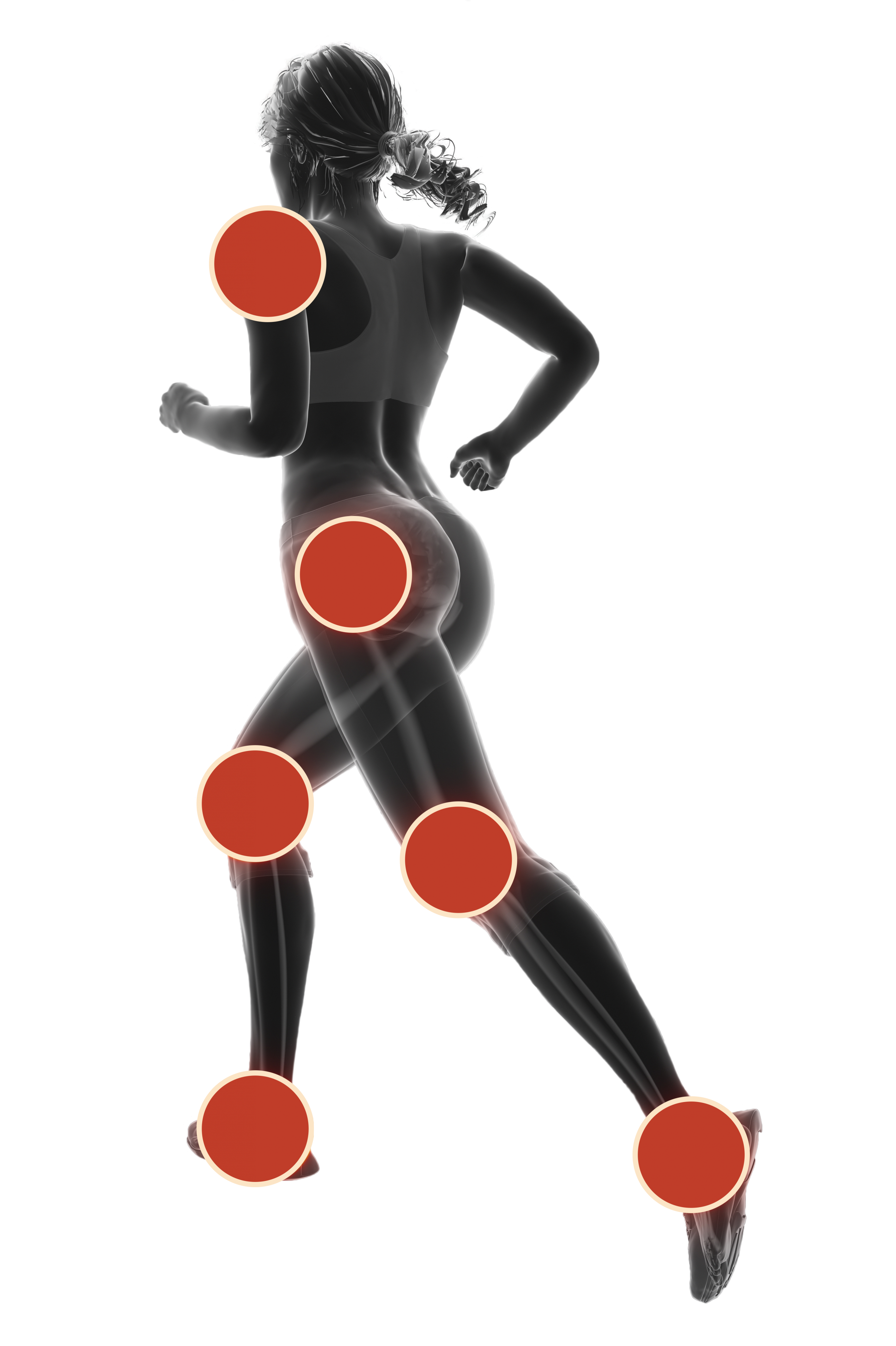 A body silhouette of an athlete with points depicting how balance training with TENDO Barbell De-Stabilizer by Tendo Sport will strengthen joint stability and protect ankles, knees, hips, and shoulders.