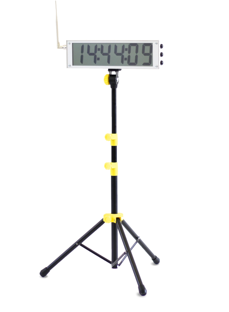 Tendo Sprint System External Display by Tendo Sport attached to a tripod showing speed results of an athlete