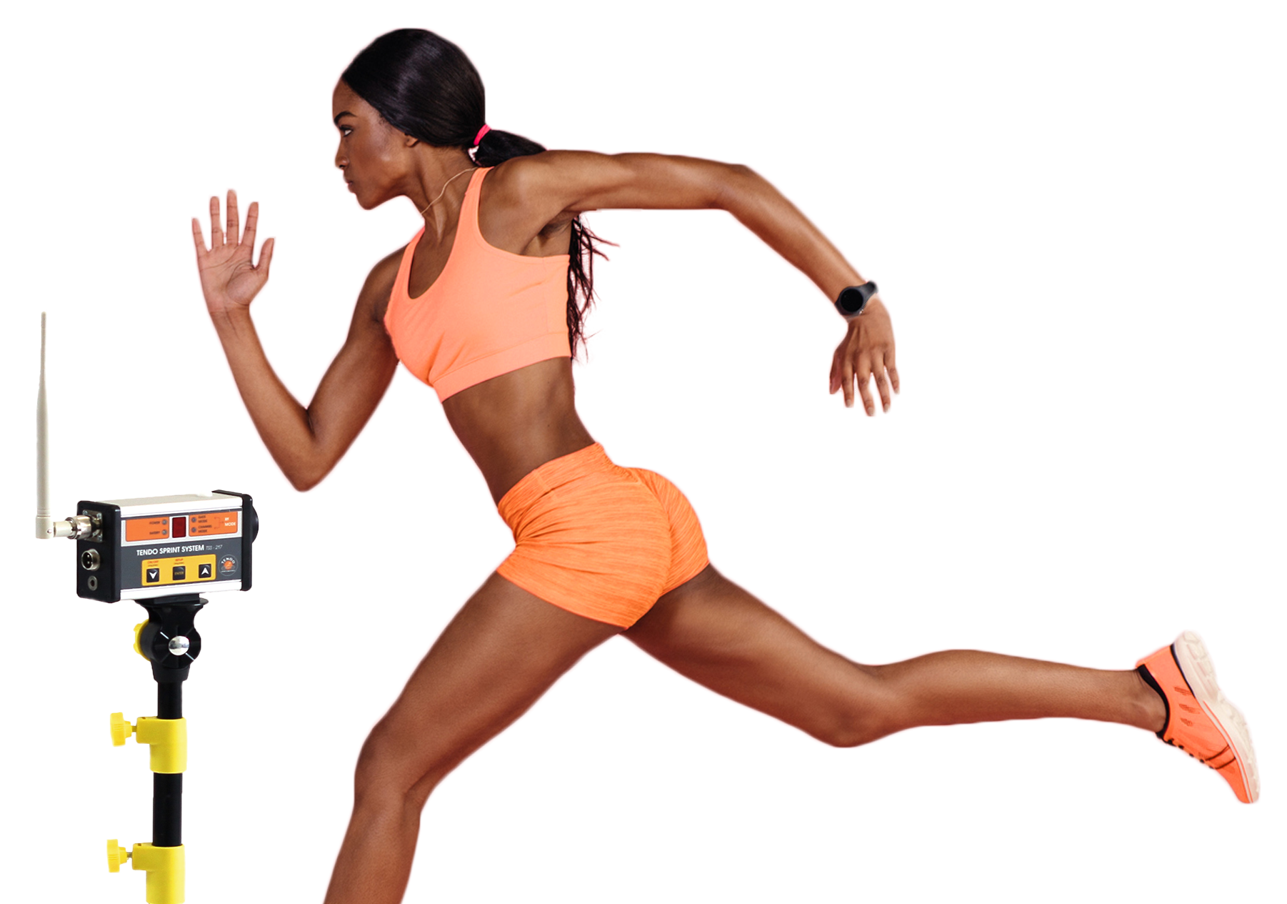 Woman athlete crossing Tendo Sprint System finish photocell beam by Tendo Sport