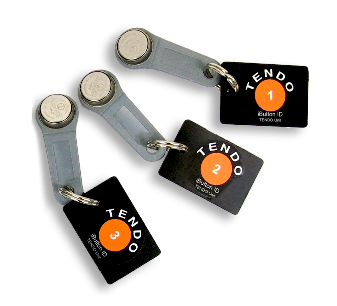 Three Tendo Unit iButton chips (RFID) by Tendo Sport for automatic athlete recognition