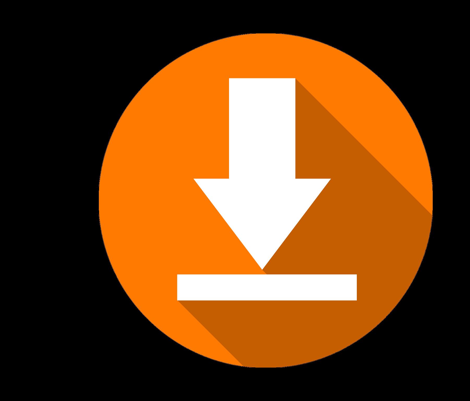 White download icon in orange circle