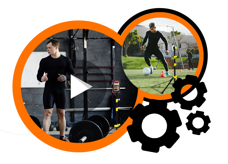 Preview of Tendo Sport products' videos explaining how to use Tendo Sport products in training and testing presented in orange circles