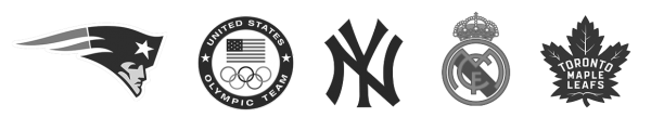 Logos of Tendo Sport customers including New England Patriots, United States Olympic team, New York Yankees, Real Madrid CF, Toronto Maple Leafs in black and white