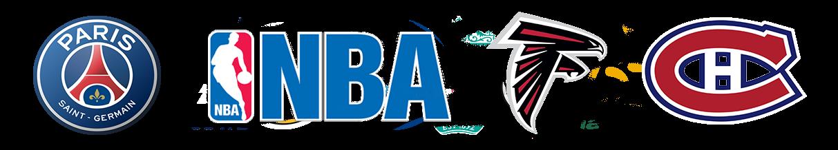 Logos of Tendo Sport customers including Paris Saint-Germain, NBA teams, Atlanta Falcons, Montreal Canadians