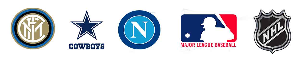 Logos of Tendo Sport customers including FC Inter Milano, Dallas Cowboys, SSC Napoli, Major League Basketball teams, NHL teams
