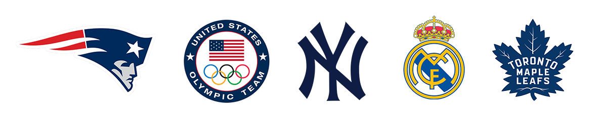 Logos of Tendo Sport customers including New England Patriots, United States Olympic team, New York Yankees, Real Madrid CF, Toronto Maple Leafs