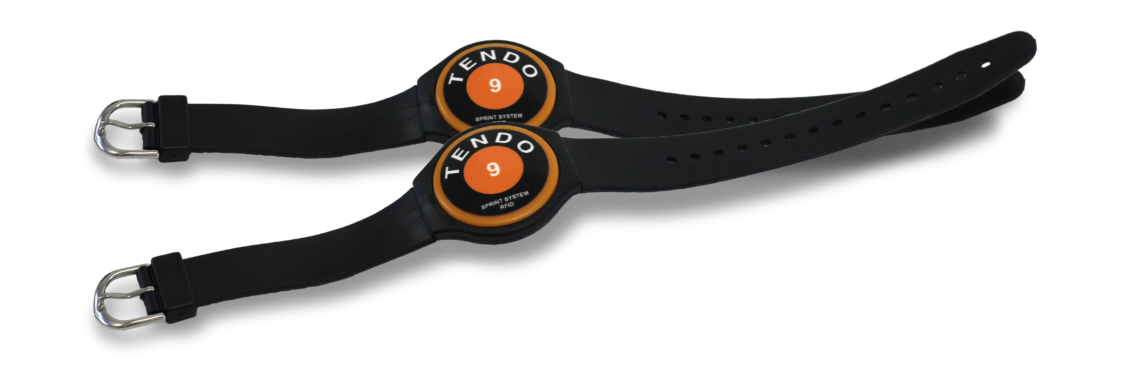 Two Tendo Sprint System RFID wrist bands for automatic recognition of athletes in training and testing by Tendo Sport