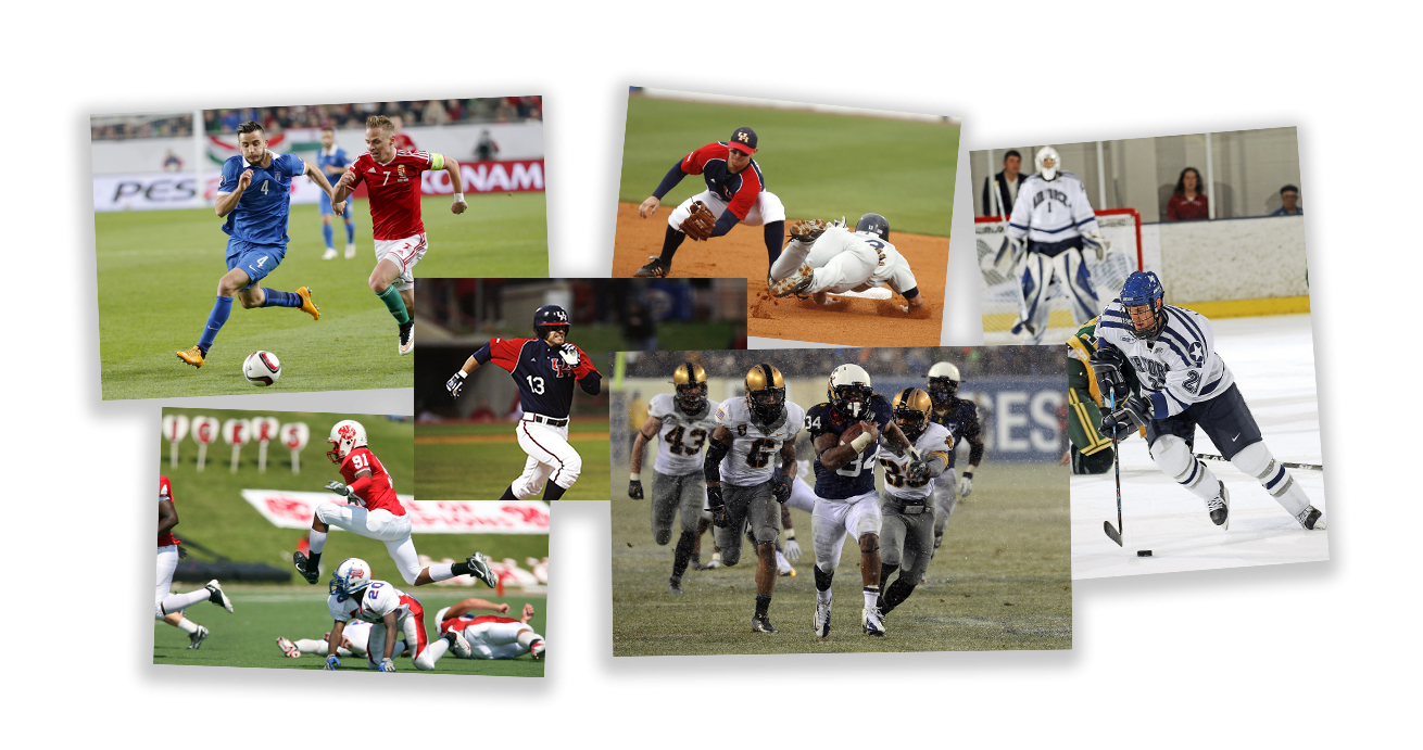 Different sports depicting athletes in full sprint highlighting importance of speed of athletes including football, baseball, ice hockey, american football, soccer - Tendo Sport