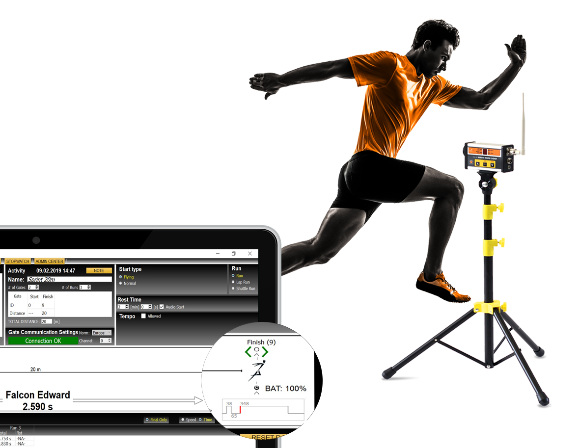 An athlete is crossing finish Tendo Sprint System photocell by Tendo Sport while a detail on a laptop with Tendo Sprint System computer software is showing how Tendo Sprint System filters out invalid crosses of the beam caused by legs and arms and taking into account only the cross caused by torso