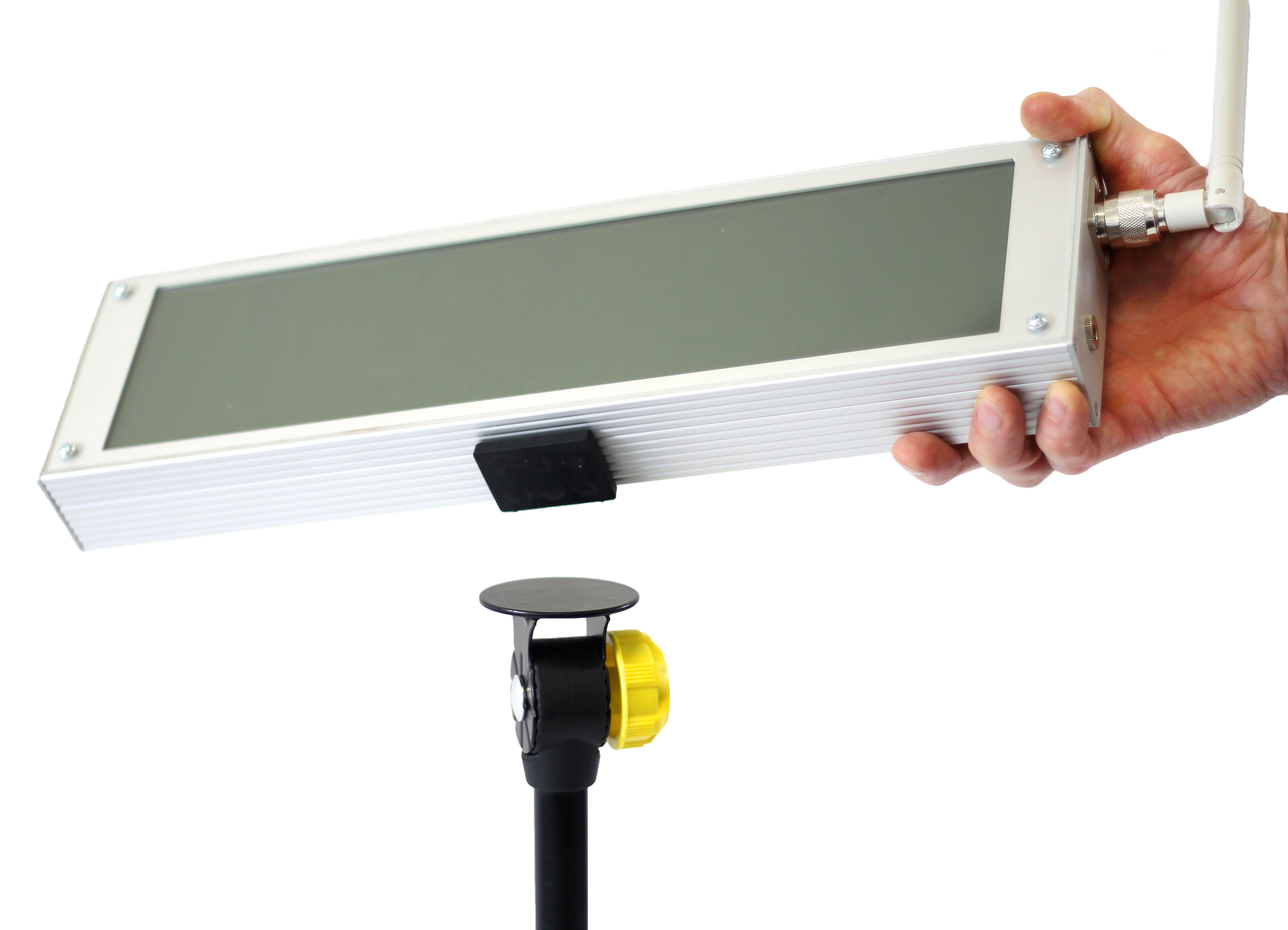 Tendo Sprint System external display by Tendo Sport being attached via magnet to a tripod