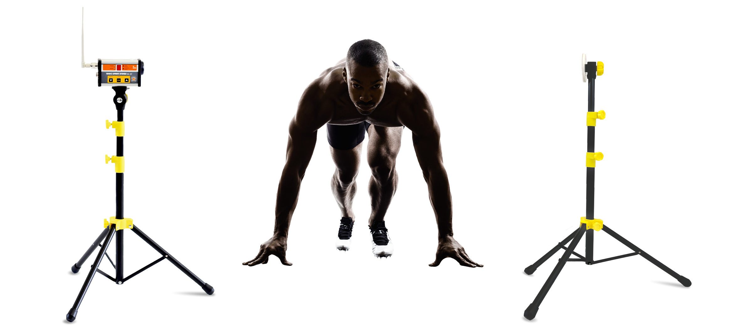 An athlete in starting position ready to sprint standing in between Tendo Sprint System photocell and reflector by Tendo Sport
