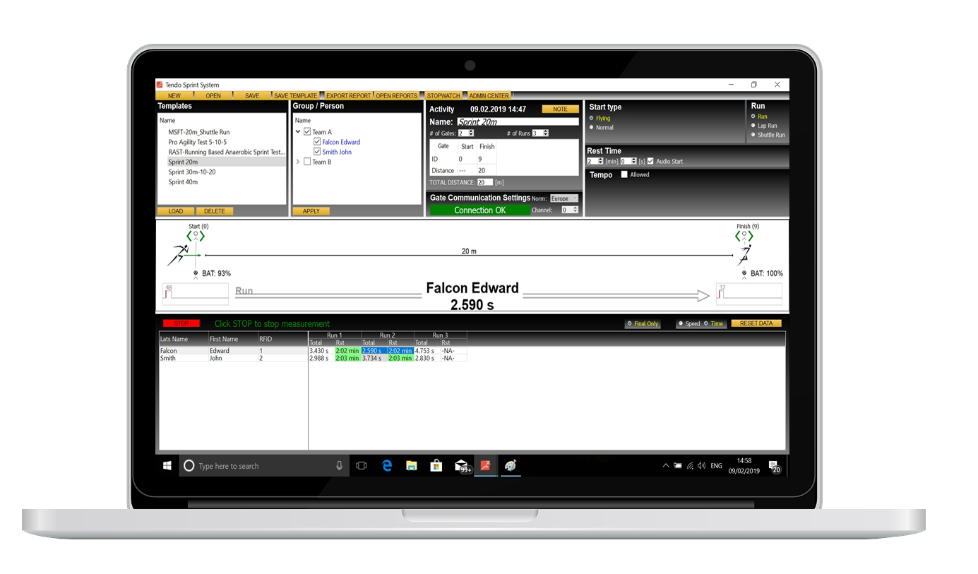 Tendo Sprint System computer software shown on laptop with details on database of athletes groups and trainings and tests, training and testing templates with visual representations, running options and settings, crosses of the beam, results table with times for every athlete