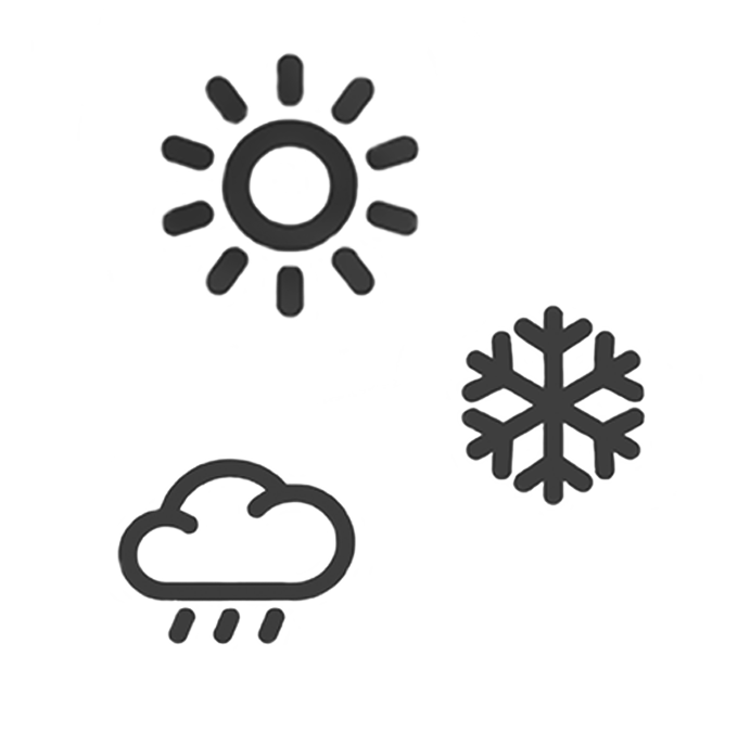 weather silhouette icons including sun, snow flake and rain cloud