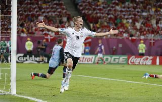 lars bender of germany reacts after he scored against denmark during their uefa euro 2012 game on june 17, 2012 in lviv, ukraine - Tendo Sport