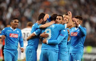 SSC Napoli team being happy after a win a hugging each other - Tendo Sport customers