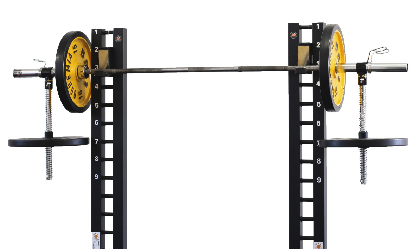Tendo barbell destabiliser with weights on a rack by Tendo Sport