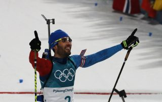 Biathlon athlete in being happy to win at winter Olympics games in PyeongChang in 2018 - Tendo Sport