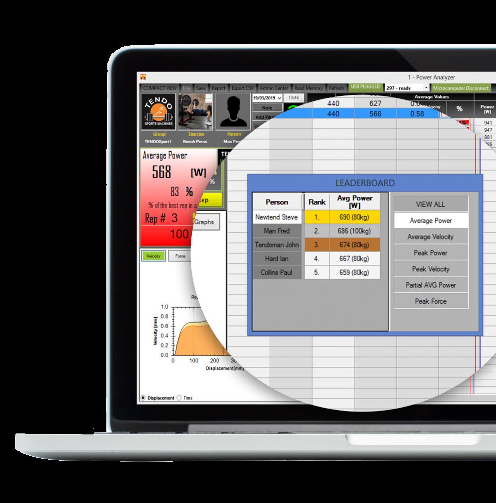 Tendo Unit computer software Leaderboard closeup