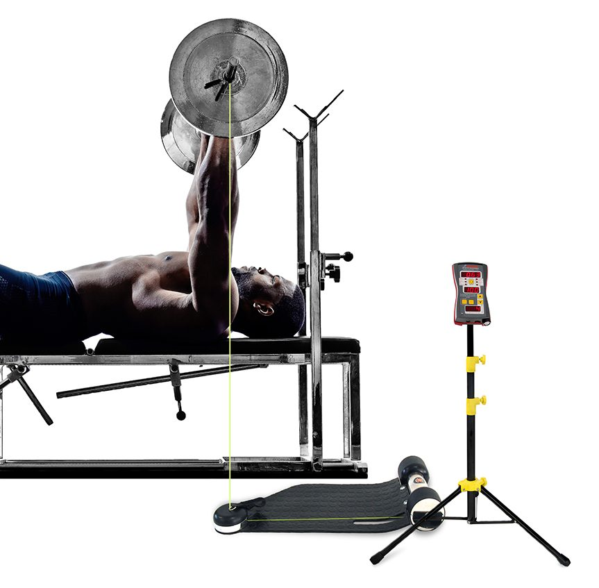 Male athlete performing bench press while his alethic performance is measured with Tendo unit WL by Tendo Sport which sensor is attached to the barbell