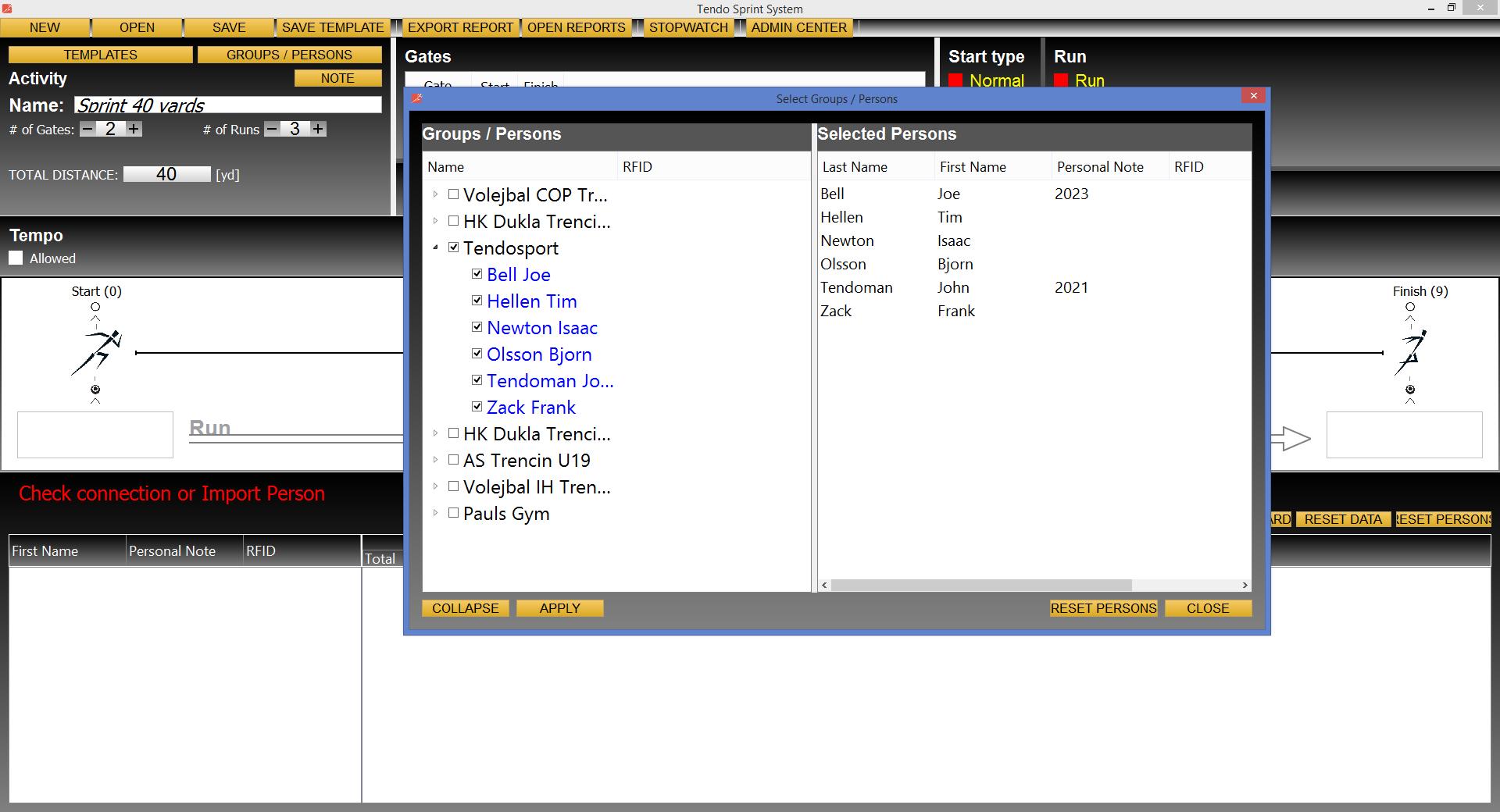 Tendo Sprint System timing system athlete database