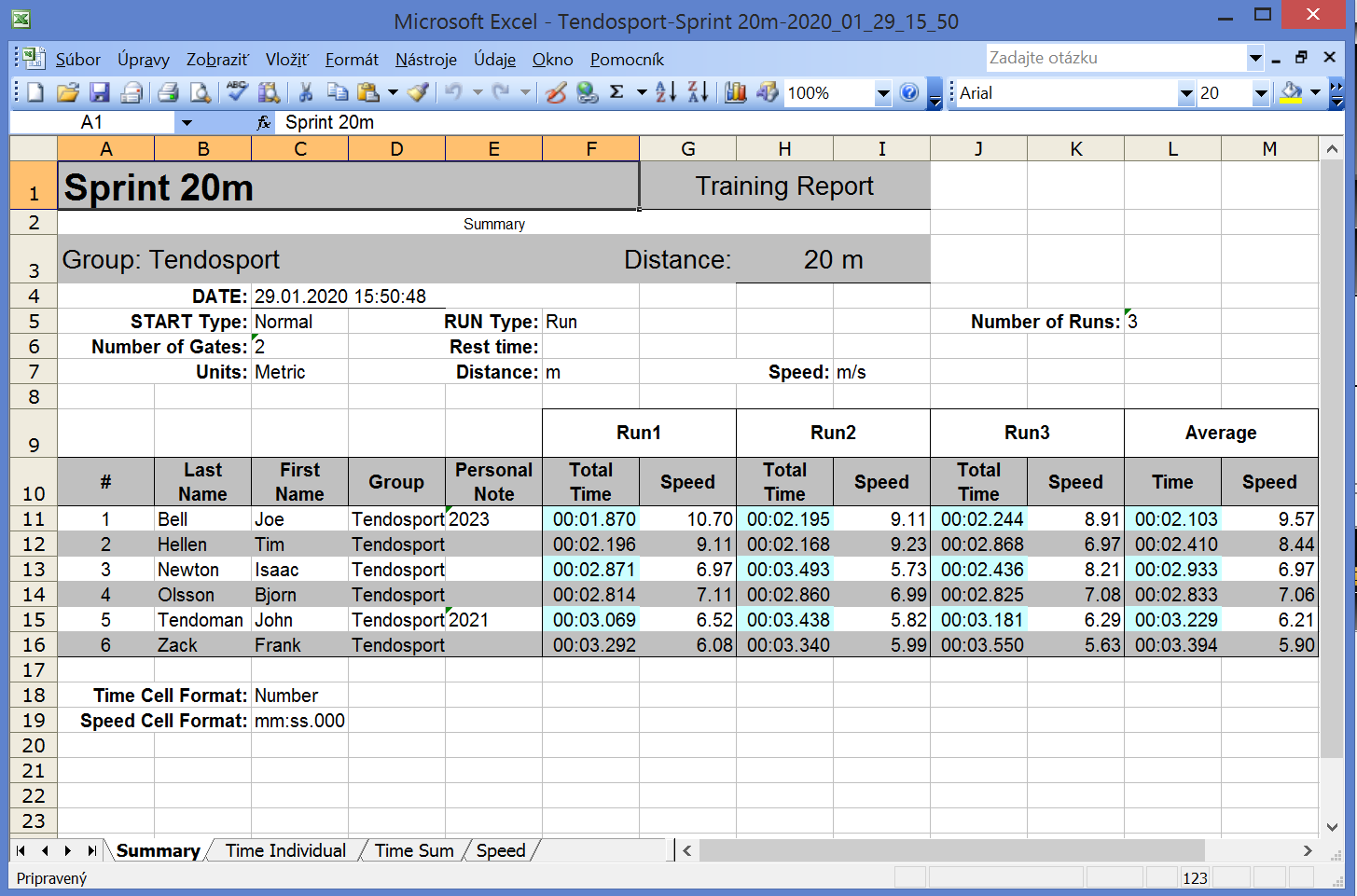 Tendo Sprint System timing system Excel Report