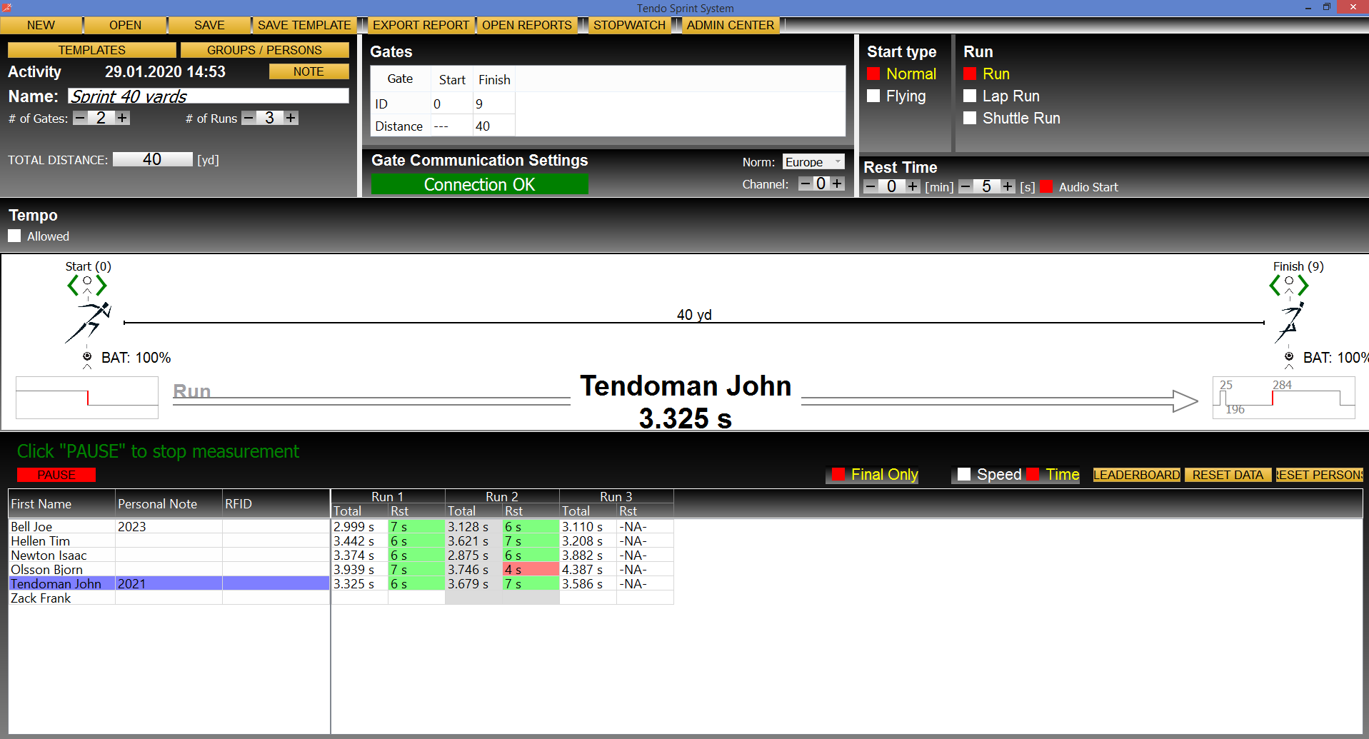 Tendo Sprint System, the timing system main training window