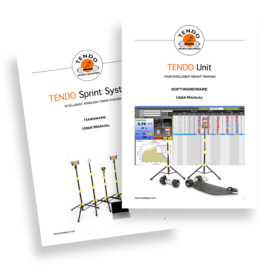 Two manual covers for Tendo Unit computer software and Tendo Sprint System hardware