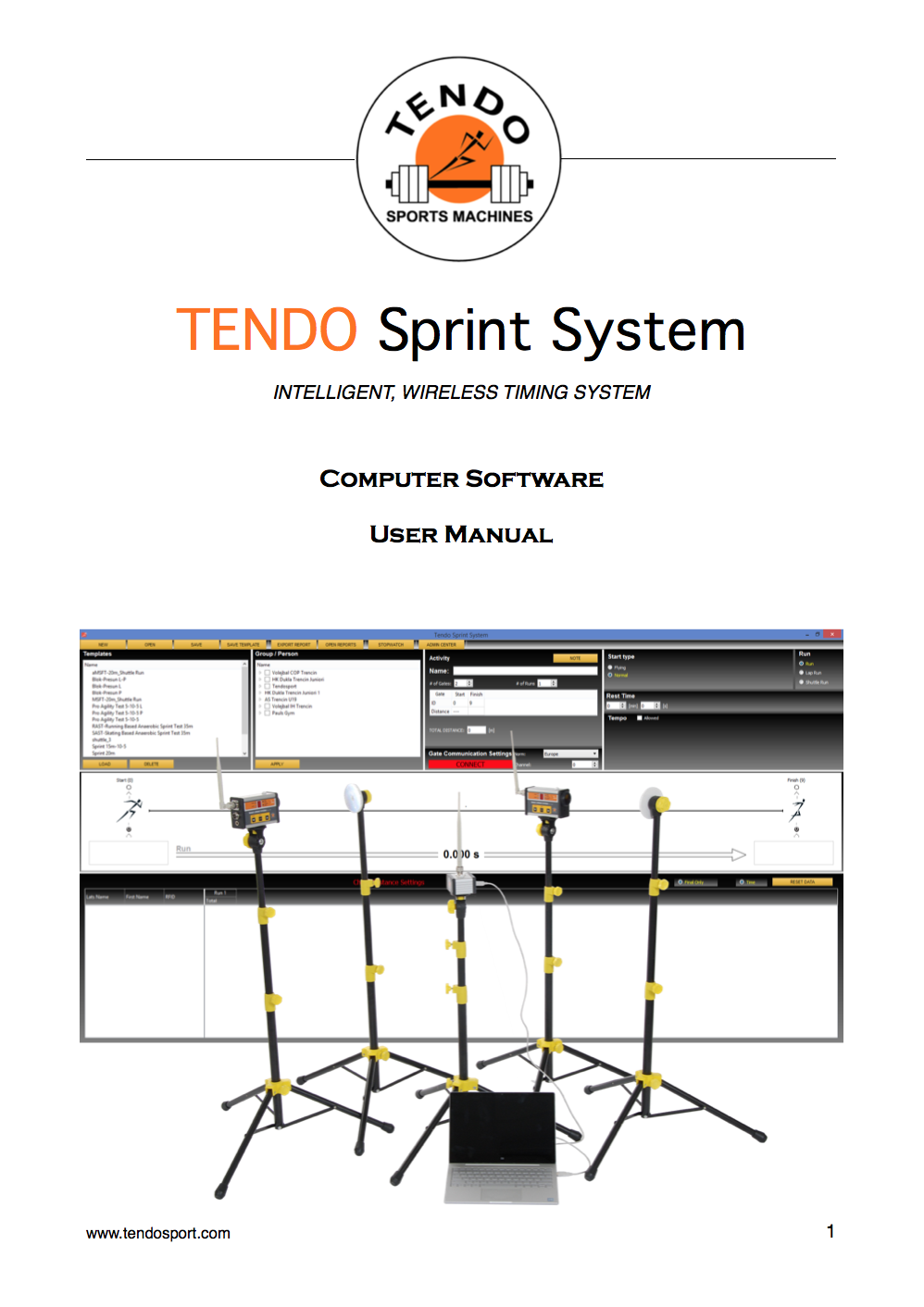 Tendo Sprint System Software manual cover photo