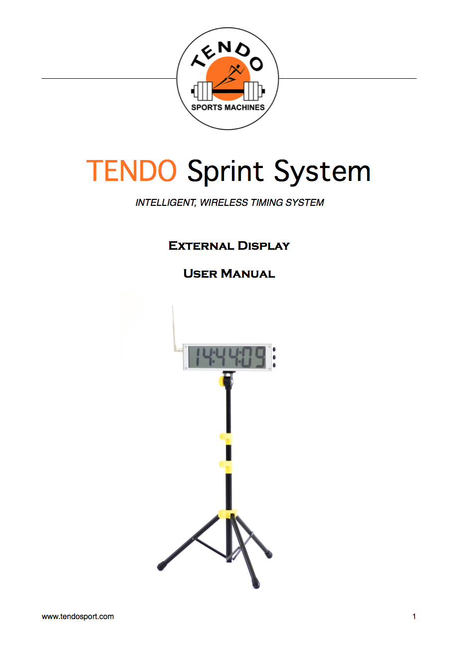 Tendo Sprint System external display manual cover