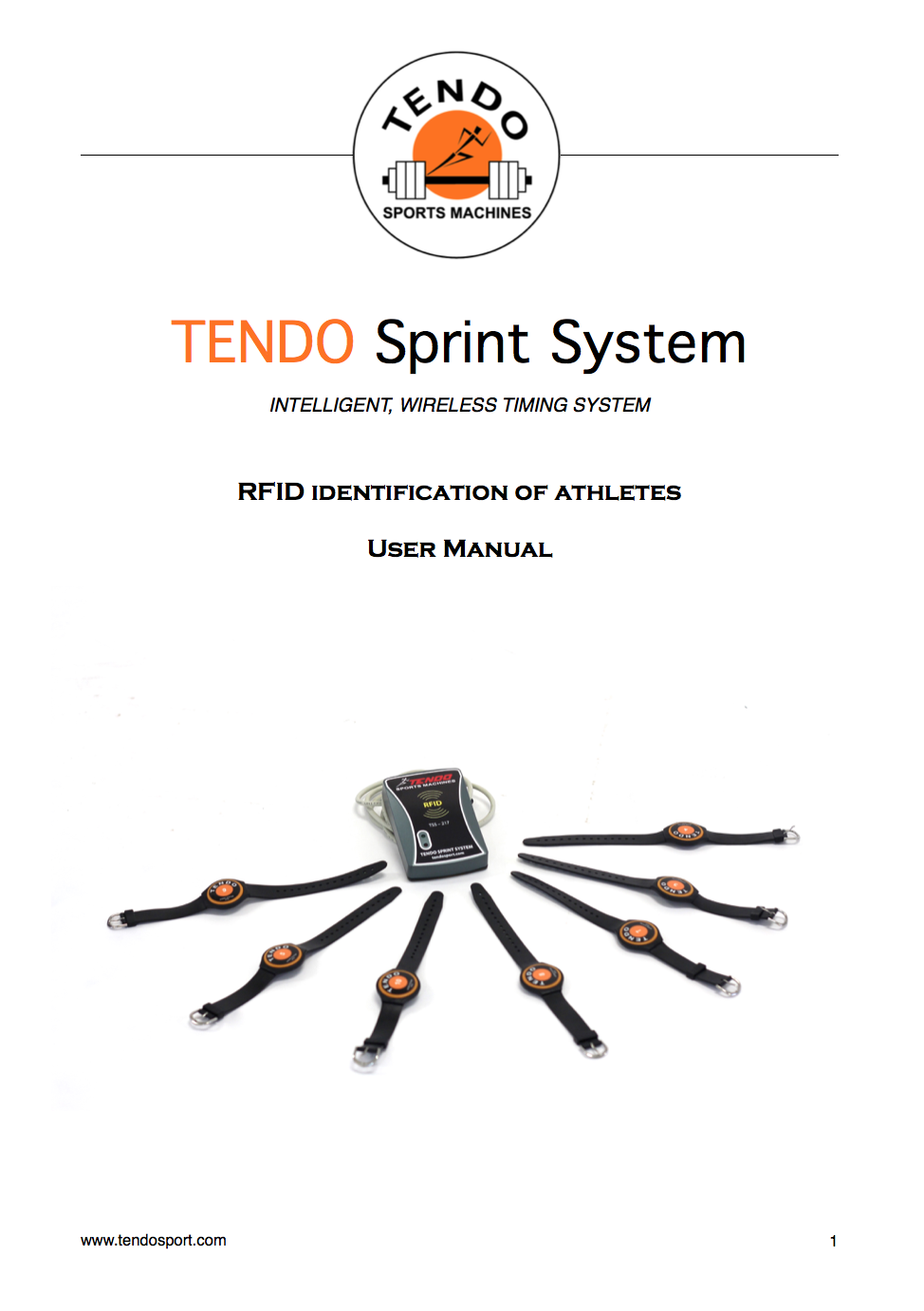 Tendo Sprint System RFID identification of athletes user manual cover photo