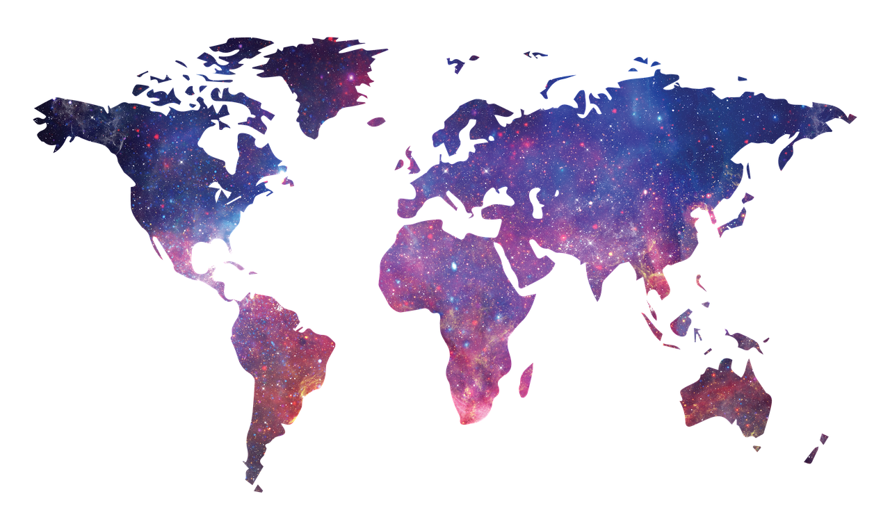 World map filled with colourful galaxy with transparent background