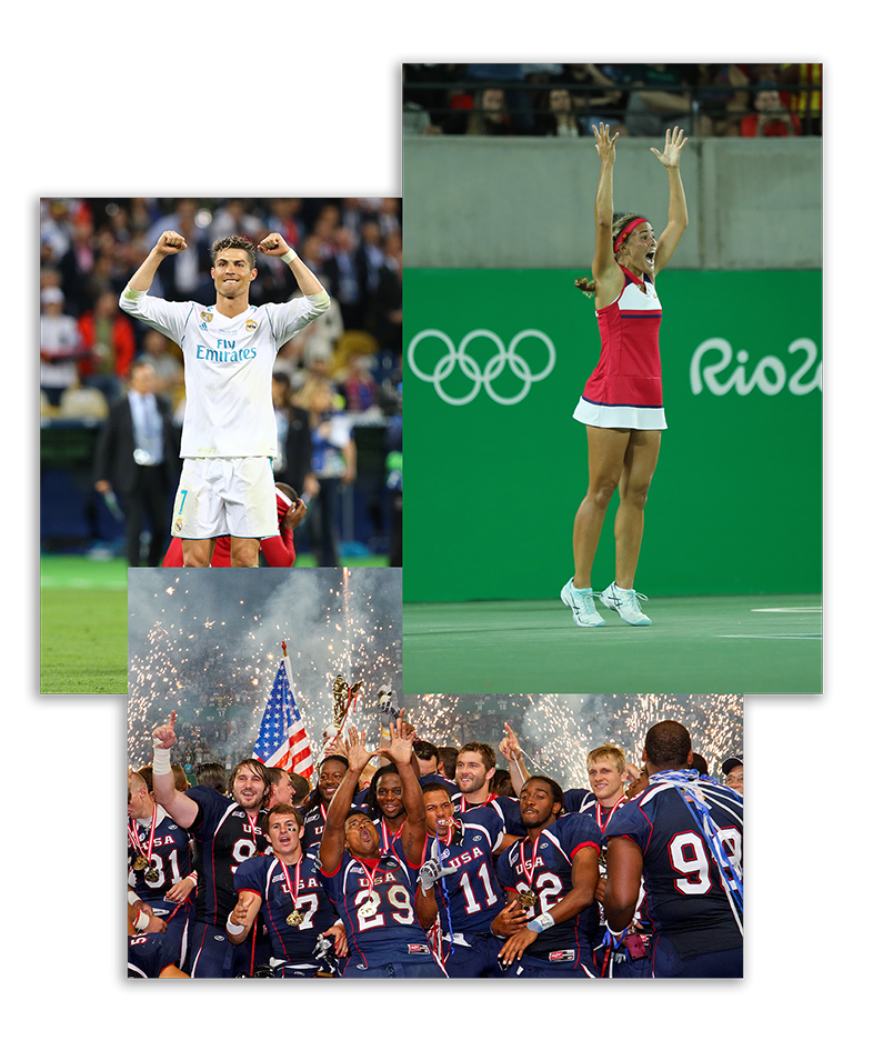 Football player Christiano Ronaldo, tennis player at Olympic Games in Rio in 2012, american football team being happy after winning a match