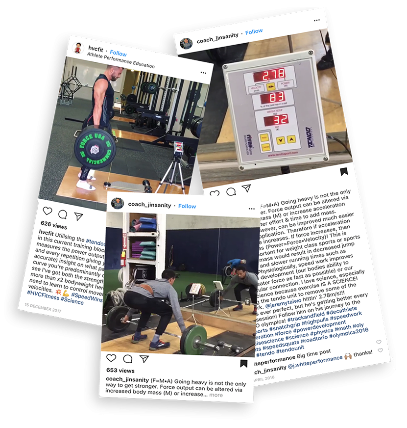 Some Instagram posts showing how our customers use their Tendo Units in their everyday training over the years