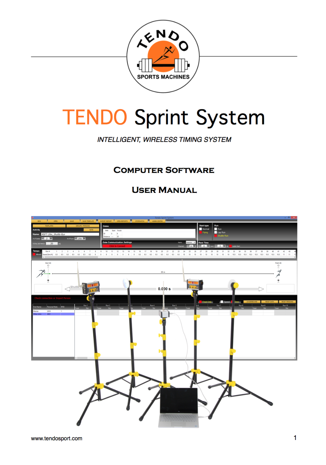 Tendo Sprint System, the timing system software manual cover