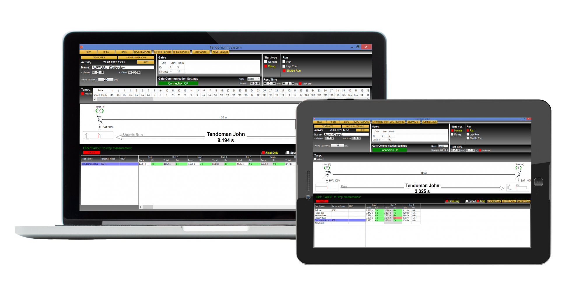 Tendo Sprint System timing system- software laptop + tablet