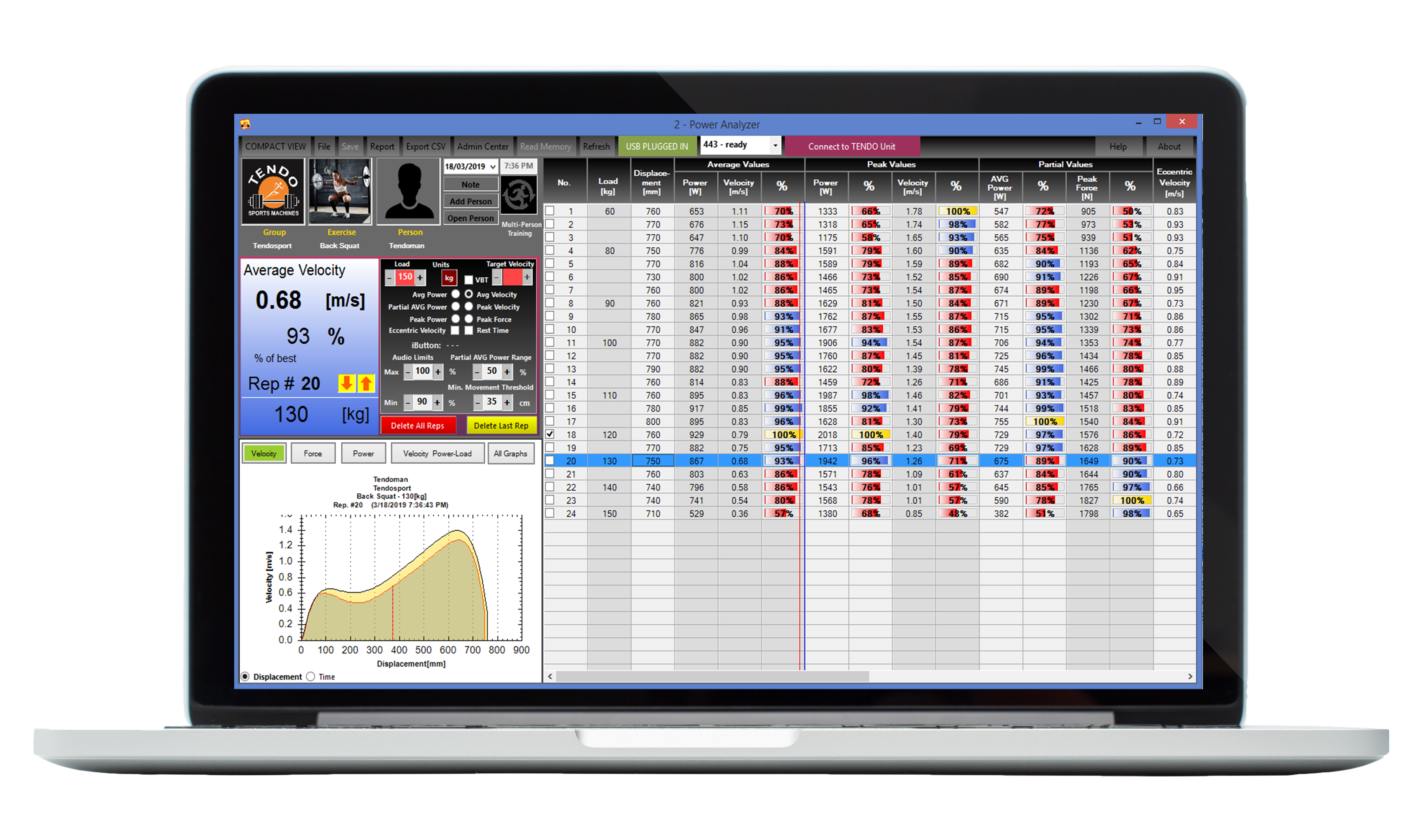 Tendo Power analyser computer software main program window with graphs, tables, Velocity Based Training mode and measured data from a training