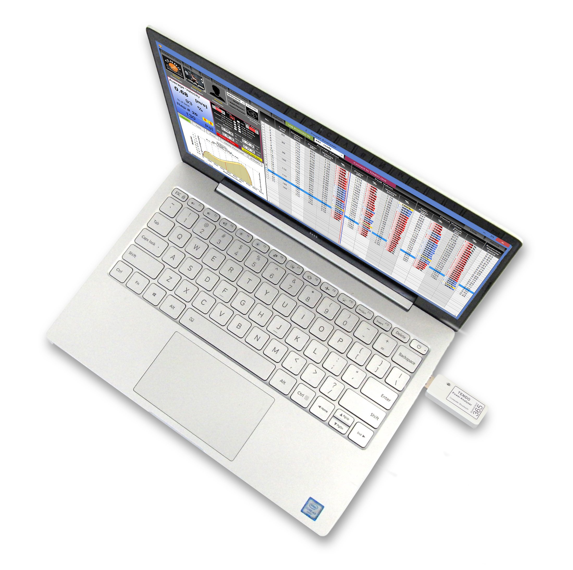 Tendo Power analyser computer software on a laptop with plugged Tendo Bluetooth set